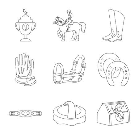 Vector design of horseback and equestrian symbol. Set of horseback and horse stock symbol for web.