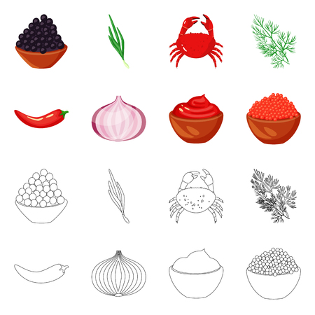Vector illustration of taste and product icon. Collection of taste and cooking vector icon for stock. Çizim