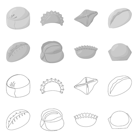 Isolated object of products  and cooking symbol. Set of products  and appetizer stock vector illustration.