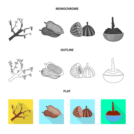 Vector design of food and yummy. Set of food and brown   vector icon for stock. Standard-Bild - 119508517
