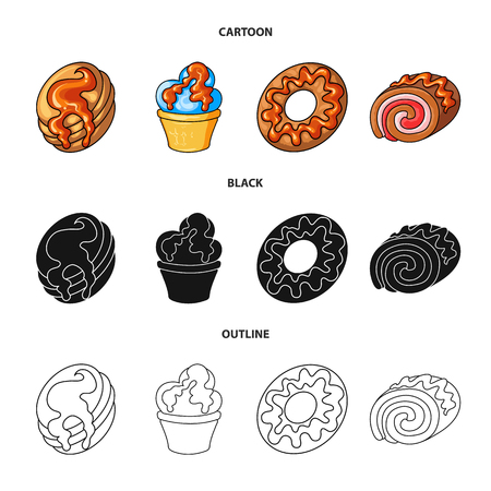 Vector design of confectionery and culinary sign. Collection of confectionery and product stock vector illustration.