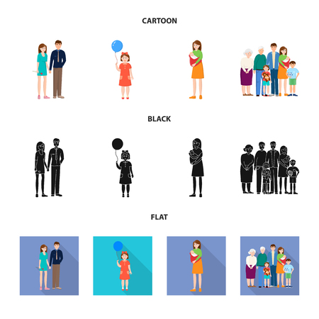 Vector design of character and avatar. Collection of character and portrait vector icon for stock.