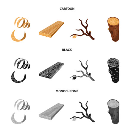 Vector design of tree   and raw. Collection of tree   and construction vector icon for stock. Иллюстрация
