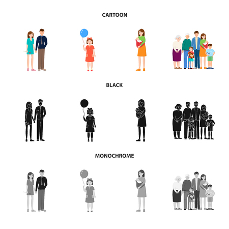 Isolated object of character and avatar  icon. Collection of character and portrait vector icon for stock.