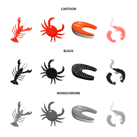 Vector design of fresh  and restaurant sign. Set of fresh  and marine   vector icon for stock.