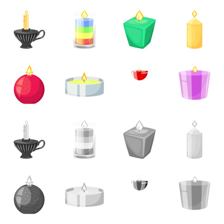 Isolated object of relaxation and flame. Set of relaxation and wax vector icon for stock.