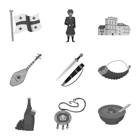 Vector illustration of attributes and tourism symbol. Set of attributes and national stock vector illustration.