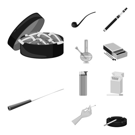 Vector illustration of health and nicotine symbol. Set of health and statistics stock vector illustration. Çizim