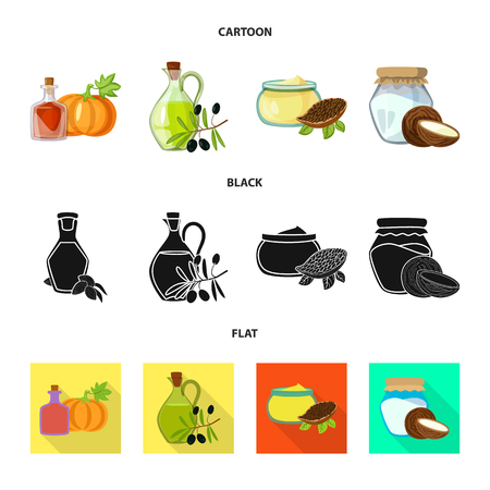Vector design of healthy  and vegetable. Set of healthy  and agriculture vector icon for stock.