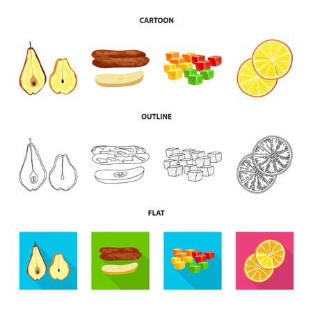 Vector design of food and raw. Collection of food and nature stock vector illustration.