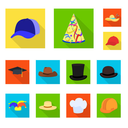 Isolated object of fashion and profession sign. Set of fashion and cap vector icon for stock.