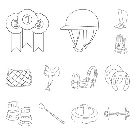 Vector illustration of horseback and equestrian. Set of horseback and horse  stock symbol for web.