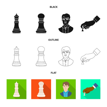 Vector illustration of checkmate and thin icon. Collection of checkmate and target vector icon for stock. Иллюстрация