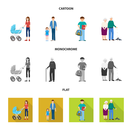 Isolated object of character and avatar icon. Set of character and portrait vector icon for stock.