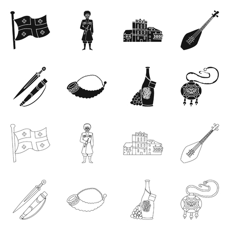 Isolated object of culture and sightseeing. Collection of culture and originality stock vector illustration.