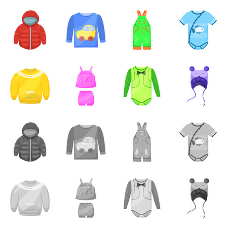 Vektorillustration des Mode- und Kleidungsstücklogos. Sammlung von Mode- und Baumwollaktiensymbolen für das Web.