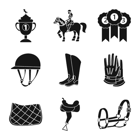 Vector illustration of sport and competition sign. Set of sport and equestrian stock vector illustration.  イラスト・ベクター素材