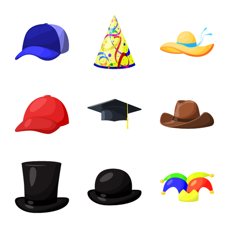 Vector design of headgear and napper icon. Set of headgear and helmet vector icon for stock.