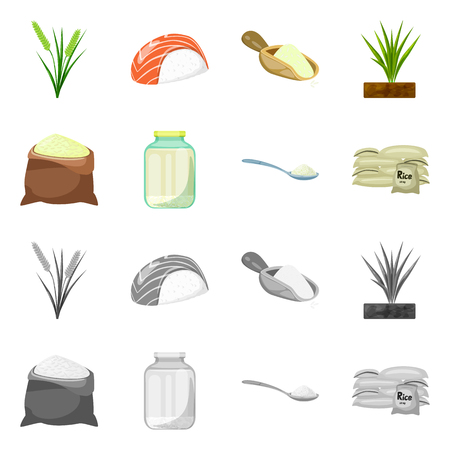 Isolated object of crop and ecological symbol. Set of crop and cooking stock symbol for web.