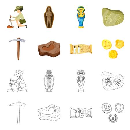 Disegno vettoriale del simbolo di storia e oggetti. Set di storia e attributi illustrazione vettoriale d'archivio.
