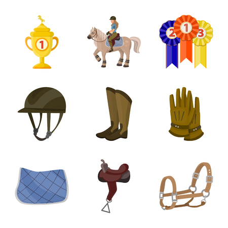 Isolated object of horseback and equestrian symbol. Collection of horseback and horse  stock vector illustration. Vettoriali