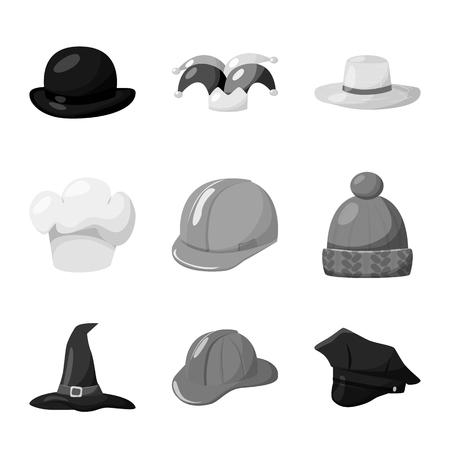 Objet isolé de signe de chapeau et de casque. Collection d'icône de vecteur de chapeau et de profession pour le stock.