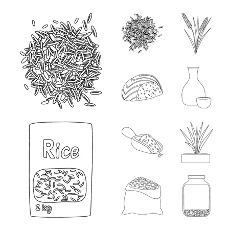 Isolated object of diet and cooking logo. Set of diet and organic vector icon for stock.