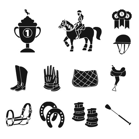 Vector illustration of sport and competition logo. Collection of sport and equestrian vector icon for stock. Vettoriali