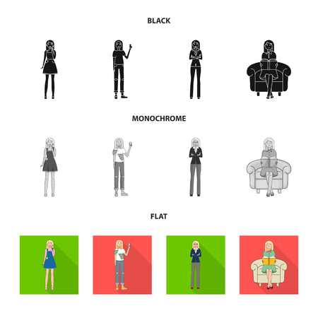 Isolated object of posture and mood symbol. Set of posture and female vector icon for stock. 向量圖像