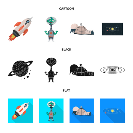 Vector design of astronomy and technology sign. Set of astronomy and sky stock vector illustration.