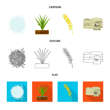 Isolated object of crop and ecological logo. Set of crop and cooking vector icon for stock.