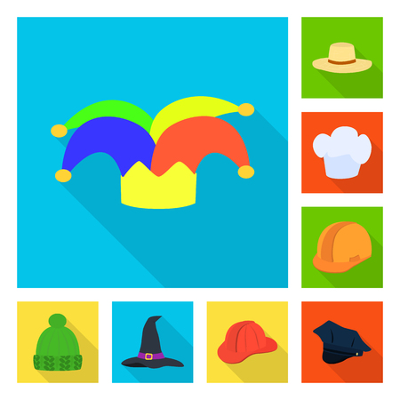 Vector design of fashion and profession icon. Collection of fashion and cap stock vector illustration. Illustration