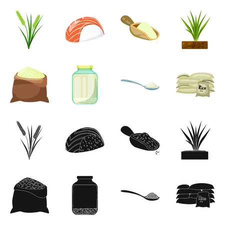 Vector illustration of crop and ecological sign. Collection of crop and cooking vector icon for stock.