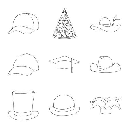 Vector design of headgear and napper icon. Set of headgear and helmet stock symbol for web. Vettoriali