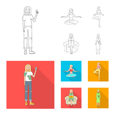 Vector illustration of posture and mood icon. Collection of posture and female stock vector illustration.