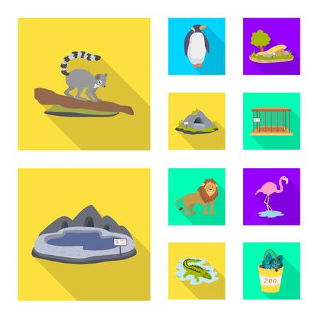 Vector design of safari  and animal sign. Set of safari  and fun  vector icon for stock.