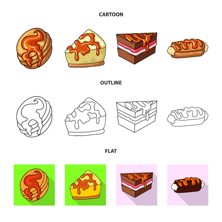 Vector illustration of confectionery and culinary icon. Collection of confectionery and product vector icon for stock.