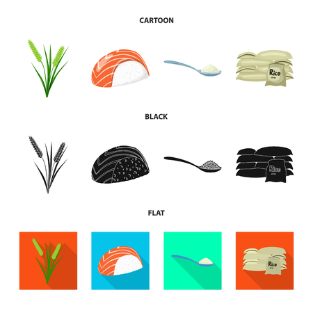 Vector illustration of crop and ecological sign. Set of crop and cooking stock vector illustration.