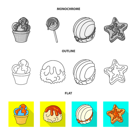 Vector design of confectionery and culinary sign. Collection of confectionery and product stock symbol for web.