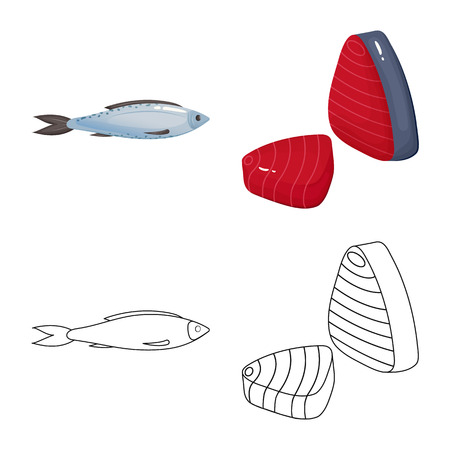 Isolated object of fresh and restaurant icon. Set of fresh and marine vector icon for stock.