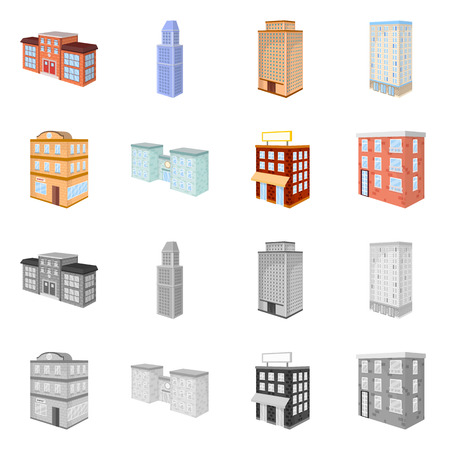 Isolated object of construction and building symbol. Set of construction and estate vector icon for stock.