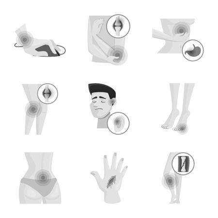 Vector illustration of suffering and injury icon. Collection of suffering and damage stock vector illustration.