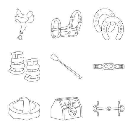 Vector design of horseback and equestrian logo. Set of horseback and horse vector icon for stock.