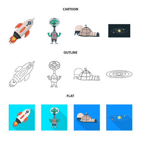 Isolated object of astronomy and technology symbol. Set of astronomy and sky vector icon for stock.