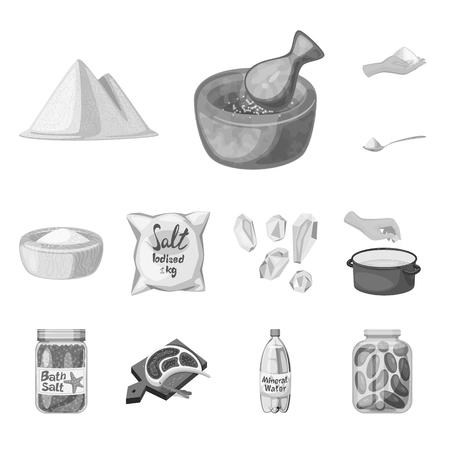 Vector illustration of salt and food symbol. Collection of salt and mineral vector icon for stock.