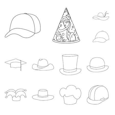 Vector design of headgear and napper symbol. Set of headgear and helmet stock symbol for web. Vettoriali