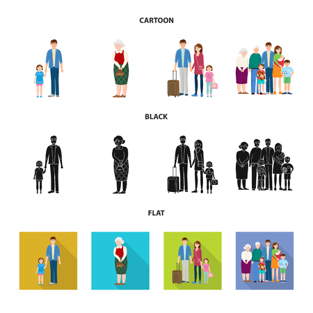 Isolated object of character and avatar icon. Collection of character and portrait stock vector illustration.