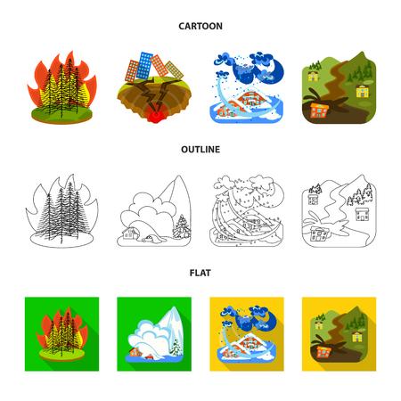 Objeto aislado del clima y el icono de socorro. Colección de ilustración vectorial de stock meteorológico y de accidentes.