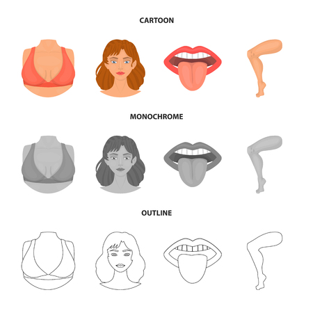 Isolated object of body and part sign. Collection of body and anatomy stock symbol for web. Illustration