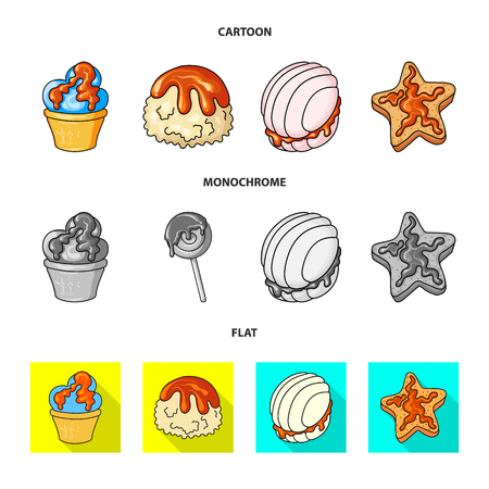 Vector illustration of confectionery and culinary logo. Collection of confectionery and product stock symbol for web.
